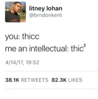 always that one person that ruins everything: litney lohan  @brndonkent  you: thicc  me an intellectual: thic2  4/14/17, 19:52  38.1K  RETWEETS  82.3K  LIKES always that one person that ruins everything