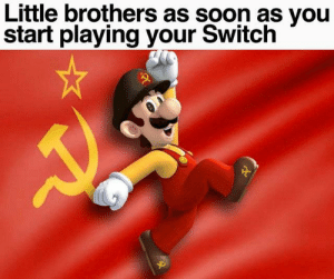 As Soon As: Little brothers as soon as you  start playing your Switch