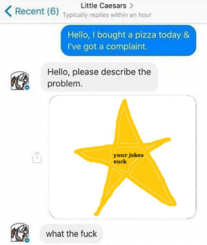 Hello, Little Caesars, and Pizza: Little Caesars  Recent (6) Typically replies within an hour  Hello, I bought a pizza today &  I've got a complaint.  Hello, please describe the  problem  your jokes  suck  what the fuck https://t.co/vGBzffb7YZ