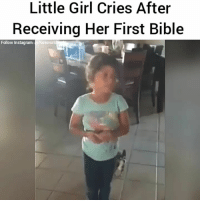 "Children, God, and Heaven: Little Girl Cries After  Receiving Her First Bible  Follow Instagram: Purewor This brought warmth and joy to my soul, I had to share. I've never seen a child this happy to receive a Bible before. I pray and wish this can happen more often. The word of God is infinite times more precious than gold and silver, and the most people will never realize that in this life. _ 📖 ""Train up a child in the way he should go; even when he is old he will not depart from it.""📖 - Proverbs 22:6 ESV _ 📖 ""But Jesus said, ""Let the little children come to me and do not hinder them, for to such belongs the kingdom of heaven.""📖 - Matthew 19:14 ESV"