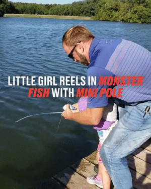 Using only a tiny fishing pole, this little girl managed to reel in a fish almost the same size as her 😳😳: LITTLE GIRL REELS IN MONA-28  FISH WITH MINP0LE Using only a tiny fishing pole, this little girl managed to reel in a fish almost the same size as her 😳😳