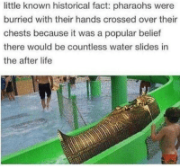 Life, Water, and Historical: little known historical fact: pharaohs were  burried with their hands crossed over their  chests because it was a popular belief  there would be countless water slides in  the after life