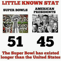 Kellyanne Conway about to cite this as an alternative fact credit in tagged: LITTLE KNOWN STAT  SUPER BOWLS  AMERICAN  PRESIDENTS  51 45  The Super Bowl has existed  longer than the United States Kellyanne Conway about to cite this as an alternative fact credit in tagged