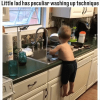 The best use of a belly 😂😂: Little lad has peculiar washing up technique The best use of a belly 😂😂