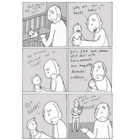Comic about issues! Www.lunarbaboon.com: little ng  my No seriousl  so  are you Why GET  Why are you  so  today  happy It's 2016 and women  still deal with  harassment,  Pay inequal  ty  domestic  ol  Violence...  gotten into  today Comic about issues! Www.lunarbaboon.com