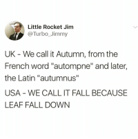"Keeping it simple @friendofbae 😂: Little Rocket Jim  @Turbo_Jimmy  UK - We call it Autumn, from the  French word ""autompne"" and later,  the Latin ""autumnus""  USA WE CALL IT FALL BECAUSE  LEAF FALL DOWN Keeping it simple @friendofbae 😂"