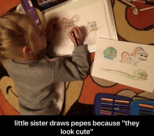 "Cute, Tumblr, and Blog: little sister draws pepes because they  look cute"" srsfunny:They look Cute"