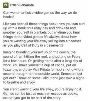 I love this. https://t.co/YmnqvCuzHf: littlebluebarista  Can we romanticize video games the way we do  books?  Like you hear all these things about how you can curl  up with a book on a rainy day and drink tea and  smother yourself in blankets but anytime you hear  things about video games it's always about how  you're wasting your life away yelling into a headset  as you play Call of Duty in a basement?  Imagine bundling yourself up on the couch, the  sound of rain hitting the roof, and putting on Fable  for a few hours. Or getting home after a long day of  work. You make yourself a cup of cocoa, put on  fuzzy pjs, and play Viva Piñata for hours not giving a  second thought to the outside world. Semester just  got out? Throw on some Fallout and just take a night  to breathe and enjoy  You aren't wasting your life away, you're enjoying it.  Games can be just as much an escape as books  except you get to be part of the story. I love this. https://t.co/YmnqvCuzHf