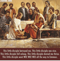 Memes, Wee, and Catholic: LITURGY AMEMES  This little disciple betrayed me. This little disciple was nice  This little disciple fell asleep. This little disciple denied me thrice.  This little disciple went WEE WEE WEE all the way to Emmaus. From Liturgy Memes