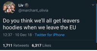 Iphone, Memes, and Twitter: Liv  amarchant_olivia  Do you think we'll all get leavers  hoodies when we leave the EU  12:37 10 Dec 18 Twitter for iPhone  1,711 Retweets 6,317 Likes