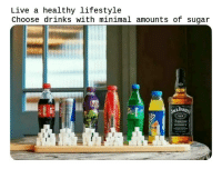 Lifestyle, Live, and Sugar: Live a healthy lifestyle  Choose drinks with minimal amounts of sugar  DANI  WHISKEY