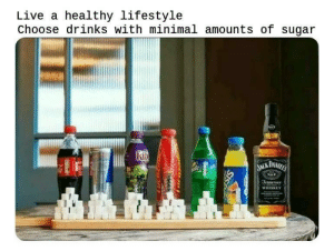 Life hacks: Live a healthy lifestyle  Choose drinks with minimal amounts of sugar  WHISKEY Life hacks