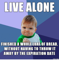 Being Alone, Date, and Imgur: LIVE ALONE  FINISHED A WHOLE LOAF OF BREAD,  WITHOUT HAVING TO THROW IT  AWAY BY THE EXPIRATION DATE  made on imgur Yes I have tried buying half a loaf of bread, but it somehow always finishes midweek