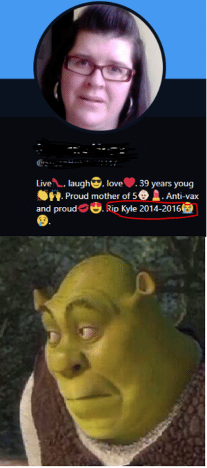 Can we get an F for Kyle? by BUTCANYOUDOTHISHMMM MORE MEMES: Live. augh, love .39 years youg  Proud mother of 5€) . Anti-vax  and proud Оф. Rip Kyle 2014-2016 Can we get an F for Kyle? by BUTCANYOUDOTHISHMMM MORE MEMES