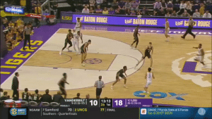 We have all been in #1's shoes. There is nothing worse. #WhiteBballPains https://t.co/syqVYTY6sq: LIVE  BAION ROUGE  BAION ROUGE  BAION ROUGEROUGE  ROUGE  nu unnpr  VANDERBILT  9-21 (0-17)  13:13  26 1st  10 LSU  : 25-5 (15-2)  FOULS:3  FOULS:1  PNCAAM 7 Samford 70 2 UNCOG  77 FINAL  CBASE: 7 Florida State at 6 Florida  Tue. 6:30 ET SECN  NETWORK  Southern Quarterfinals We have all been in #1's shoes. There is nothing worse. #WhiteBballPains https://t.co/syqVYTY6sq