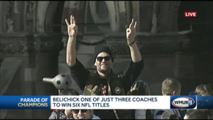 Tom Brady, the only NFL player with 6 rings, flashes 'six' hand signal: LIVE  BELICHICK ONE OF JUST THREE COACHES  PARADE OFE  CHAMPIONS T  WMUR  O WIN SIX NFL TITLES Tom Brady, the only NFL player with 6 rings, flashes 'six' hand signal