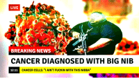 """Cancer: LIVE  BREAKING NEWS  CANCER DIAGNOSED WITH BIG NIB  12:11  CANCER CELLS: """"IAIN'T FUCKIN WITH THIS NIBBA"""""""