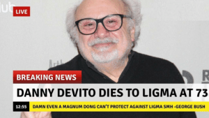 well: LIVE  BREAKING NEWS  DANNY DEVITO DIES TO LIGMA AT 73  12:55 D  AMN EVEN A MAGNUM DONG CAN'T PROTECT AGAINST LIGMA SMH -GEORGE BUSH well