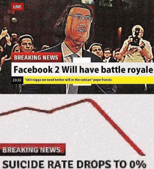 "No more suicide cuz fb2 gonna be insane: LIVE  BREAKING NEWS  Facebook 2 Will have battle royale  23:32  ""shit nigga we need better wifi in the vatican"" pope francis  BREAKING NEWS  SUICIDE RATE DROPS TO 0% No more suicide cuz fb2 gonna be insane"