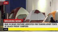9gag, Black Friday, and Dank: LIVE  BREAKING NEWS  MAN IN BEAR COSTUME ARRESTED FOR TEARING APART TENTS  OF BLACK FRIDAY CAMPERS  12:54 Sounds pretty in tents 9gag.com/tag/black-friday?ref=fbpic