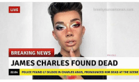 Definitely a good morning 😈💯: LIVE  breakyourownnews.com  BREAKING NEWS  @lordplat  JAMES CHARLES FOUND DEAD  POLICE FOUND 17 DILDOS IN CHARLES ANUS, PRONOUNCED HIM DEAD AT THE SCENE Definitely a good morning 😈💯