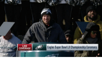 Philadelphia Eagles, Memes, and Super Bowl: LIVE  COVERAGE  Eagles Super Bowl LIl Championship Ceremony .@NFoles_9 and Jason Peters thank @Eagles fans for their support! #FlyEaglesFly  📺: @nflnetwork https://t.co/GrlAr6gFgq