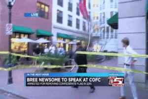 Confederate Flag, Police, and Tumblr: LIVE  EN THE NEXT NOUR  BREE NEWSOME TO SPEAK AT COFC  ARRESTED FOR REMOVING CONFEDERATE FLAG IN 205  ws  4 hate-police: jollityfarm:  geisterwald:  mediocrefuckingbeing:  bellygangstaboo:   be the confederate flag grabber you wish to see in the world     I idolize this man  btw y'all there's a fundraiser for his bail:https://donorbox.org/surj-blm-charleston  plz help comrade nyoom   COMRADE NYOOM