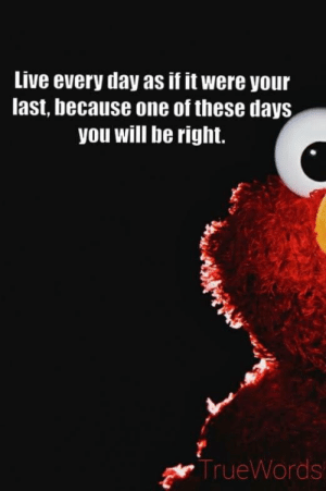 u ok elmo?: Live every day as if it were your  last, because one of these days  you will be right.  TrueWords u ok elmo?