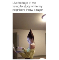 It's so loud 😂 Credit: @emilyviuhkola: Live footage of me  trying to study while my  neighbors throw a rager It's so loud 😂 Credit: @emilyviuhkola