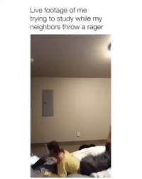 Funny, Life, and Memes: Live footage of me  trying to study while my  neighbors throw a rager life is hard 😂 via @emilyviuhkola