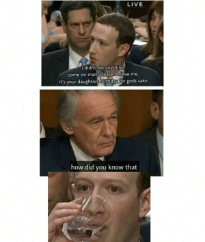 Birthday, Dank, and Memes: LIVE  i didn't do anything  come on man, please believe me,  it's your daughters birthday for gods sake  how did you know that Zucc getting zucced by DocCunt FOLLOW 4 MORE MEMES.