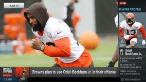 News, Nfl, and Odell Beckham Jr.: LIVE  June 12  PLAYER PROFILE  13  WR Odell  13 Beckham Jr  Acquired in trade w/NYG  in March  44 career rec TD  (3rd in NFL since 2014)  INSIDE  TRAINING  CAMPE  Browns plan to use Odell Beckham Jr. in their offense o cre seasons  1,000+ rec yds in  AStatefarm  WETWORK  CAMP SHOCKING news out of Browns camp...