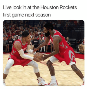 Ya'll better hope the Texans are good this year because the Rocket sure as hell aren't winning a title using only one ball next season 😂: Live look in at the Houston Rockets  first game next season  CKE Ya'll better hope the Texans are good this year because the Rocket sure as hell aren't winning a title using only one ball next season 😂