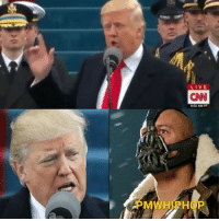 """WATCH NOW AT PMWHIPHOP.COM LINK IN BIO-- DonaldTrump quoted Bane during his inauguration speech. 😂😮 The 45th U.S. president pledged that power is now being given """"back to you, the people,"""" a line eerily similar to one spoken by the Batman villain in TheDarkKnightRises... Next 4 years gon be lit 🔥: LIVE  ON  903AM PT  M  P WATCH NOW AT PMWHIPHOP.COM LINK IN BIO-- DonaldTrump quoted Bane during his inauguration speech. 😂😮 The 45th U.S. president pledged that power is now being given """"back to you, the people,"""" a line eerily similar to one spoken by the Batman villain in TheDarkKnightRises... Next 4 years gon be lit 🔥"""