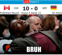 Bruh, Period, and Game: LIVE period 3  No CAN  10 0  GER.  Preliminary Round Group A Game 13  BRUH  O2 Arena