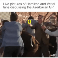 Memes, Live, and Pictures: Live pictures of Hamilton and Vettel  fans discussing the Azerbaijan GP:  wtf1. Every F1 comments section right now 😂 f1 formula1 lewishamilton sebastianvettel azerbaijangp wtf1