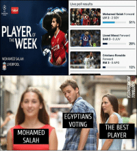 Haha 😀: Live poll results  uD  CHAMPIONS  Mohamed Salah Forward  LIV 2- 2 SEV  51%  PLAYER  WEEK  OF  Lionel Messi Forward  BAR 3-0 JUV  THE  20%  MOHAMED SALAH  LIVERPOOL  Cristiano Ronaldo  Forward  RM 3-0 APO  12%  EGYPTIANS  VOTING  MOHAMED  SALAH  THE BEST  PLAYER Haha 😀