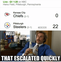 Wow.: Live Q1 1:20 on NBC  Heinz Field, Pittsburgh, Pennsylvania  Kansas City  Chiefs  (2-1)  Pittsburgh  22  Steelers  (2-1)  ONFLMEMEZ  WELL  THAT ESCALATED QUICKLY Wow.
