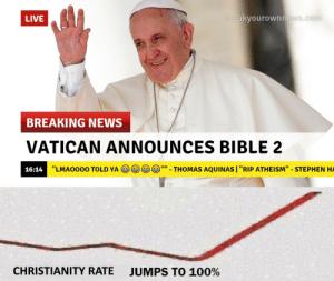"Anaconda, News, and Stephen: LIVE  reakyourownne  BREAKING NEWS  VATICAN ANNOUNCES BIBLE2  16:14  ""LMAO000 TOLD YA  THOMAS AQUINAS I ""RIP ATHEISM"" - STEPHEN HA  CHRISTIANITY RATE  JUMPS TO 100%"