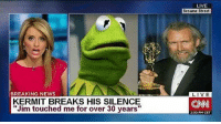 "Af, cnn.com, and Memes: LIVE  Sesame Street  BREAKING NEWS  KERMIT BREAKS HIS SILENCE  ""Jim touched me for over 30 years""  CNN  2:30 PM CET Dead AF 🐸 @mrs.badassery - - .. sayitaintsew notKermit"