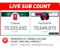 Sub Count: LIVE SUB COUNT  25.01.19  SERIES  T-Series  PewDiePie  70,332,65270,649,870  Subscribers  Subscribers  2415:06:19  PEWDIEPIE VS TSERIES LIVE SUB  COUNT: WHO WILL PREVAIL?  FlareTV . 116M views . Streamed 20 hours ago