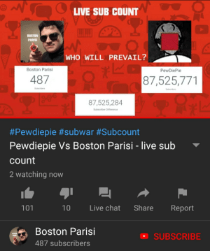 me_irl: LIVE SUB COUNT  BOSTON  PARISI  WHO WILL PREVAIL?  Boston Parisi  PewDiePie  487  87,525,771  Subscribers  Subscribors  87,525,284  Subscriber Difference  #Pewdiepie #subwar #Subcount  Pewdiepie Vs Boston Parisi - live sub  count  2 watching now  101  Live chat Share Report  Boston Parisi  487 subscribers  SUBSCRIBE me_irl