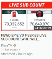 Sub Count: LIVE SUB COUNT  T-Series  PewDiePie  70,332,652 70,649,870  2415:06:19  PEWDIEPIE VS T-SERIES LIVE  SUB COUNT: WHO WILL...  FlareTV  116M views  Streamed 7 hours ago