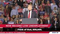 This was another truly historic week for our country!: LIVE TOPEKA, KS  MERIC  MEN  NEW RECORD-LOW UNEMPLOYMENT  Think of that, 600,000.  RUMP TO 88022 TO SUBSCRIBE  WEEK 89 This was another truly historic week for our country!