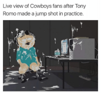 Dallas Cowboys, Tony Romo, and Live: Live view of Cowboys fans after Tony  Romo made a jump shot in practice.