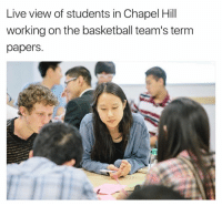 Chapel Hill: Live view of students in Chapel Hill  working on the basketball team's term  papers.