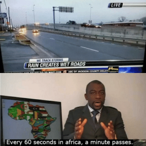 Interesting… by Geriato MORE MEMES: LIVE  WE TRACK STORMS  RAIN CREATES WET ROADS  ARC OF JACKSON COUNTY DELAY  GO TO WAFF.COM  r  A9AYS  Every 60 seconds in africa, a minute passes. Interesting… by Geriato MORE MEMES