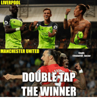 Memes, Manchester United, and Manchester: LIVERPOOL  Al TOE  Standa  haltere  MANCHESTER UNITED  Credit  @Instatroll Soccer  HIM  DOUBLE TAP  THE WINNER Double-Tap & Comment👇🏽 Who will win tomorrow, Liverpool or Manchester United❓