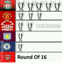 Arsenal, Football, and Memes: LIVERPOOL  CHEST  Troll Football  FOREST  H  ATV FC  MELSE  raALL.  Round of 16  Arsenal Tag an Arsenal Fan :p