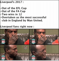 Liverpool's 2017.. 😂🙄 🔺FREE FOOTBALL EMOJIS ➡️ LINK IN OUR BIO!: Liverpool's 2017  Out of the EFL Cup  Out of the FA Cup  Two wins in 12  Overtaken as the most successful  club in England by Man United.  Liverpool fans right now  VERPOOL.  VERPOOL  Fb.com/  Troll FootballMedia  VERPOOL  VERPOOL Liverpool's 2017.. 😂🙄 🔺FREE FOOTBALL EMOJIS ➡️ LINK IN OUR BIO!